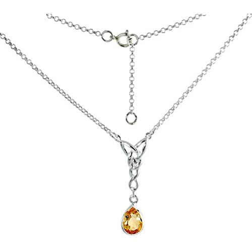 783118ad8c36 delicate Sterling Silver Celtic Tear Drop Necklace with Natural Citrine 16  inch long