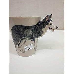 WEY&FLY 3D Coffee Dog Mug, Animals Personalized Tea Cup, Creative Hand Painted 3D Dog Mug, Gift for Lovers Kids Friends (Akita Inu) 50
