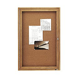 Quartet Enclosed Cork Indoor Bulletin Boards, 2 x 3 Feet, 1 Door, Oak Finish (363) by Quartet