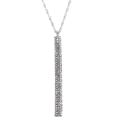 ELEARD Silver Bar Pendant Necklace Vertical Bar Drop Pedant with Crystal Paved Twist Chain Long Necklace