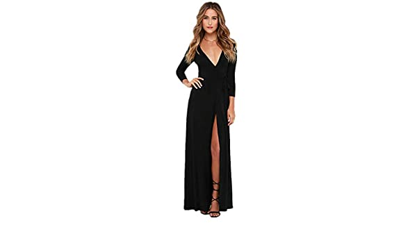 Globalwells Womens V-Neck Cocktail Long Party Dress Bandage Gown Dress