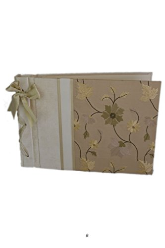 American Chateau Designer Embroidered Flowers on Silk Handbound Scrapbook Guest Book - Gift Boxed