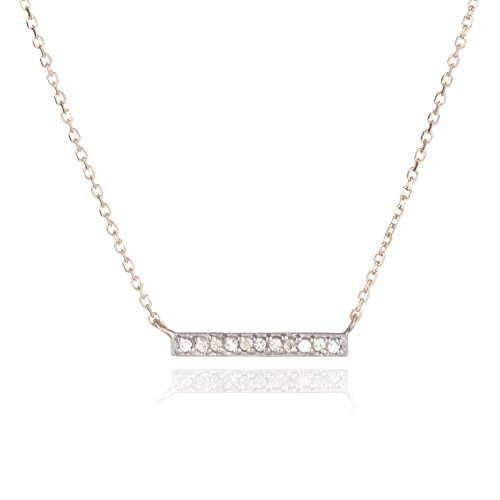 Pavé Diamond Bar Necklace Yellow in 14k Yellow Gold (Reyter Adina Necklace)