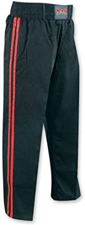 Polyester Silk Satin Fabric with Two Stripe Design M.A.R International Ltd Black Full Contact Kickboxing//Karate Trousers