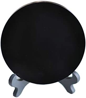 FHNP367 Black Obsidian Scrying Mirror with Stand Round Smoth Natural Crystal Polished Diameter 4.7 inch 120mm