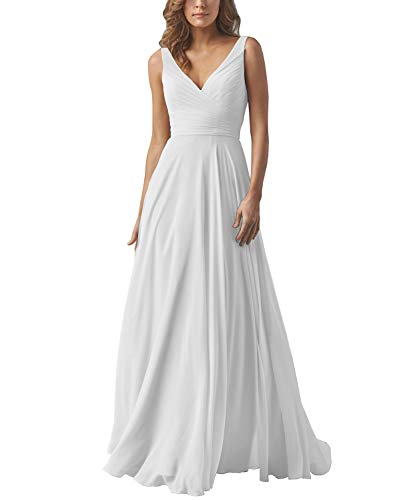 Yilis V Neck Pleated Chiffon Beach Wedding Dresses A-line Boho Long Bridal Wedding Gown White US14