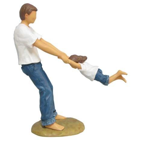 7.25 Inch Father and Daughter Blue Jeans Swinging Resin Figu