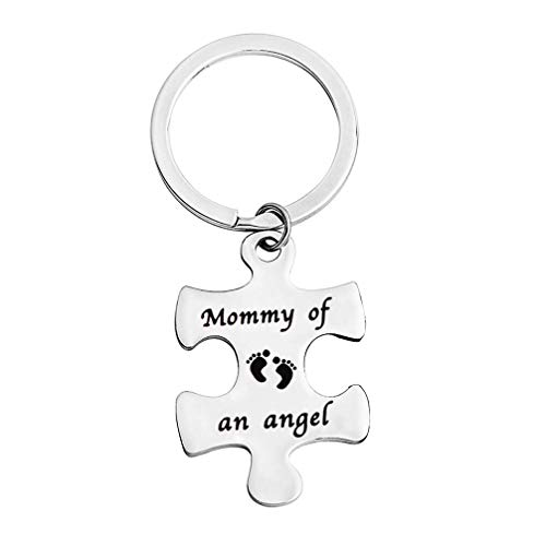 bobauna Miscarriage Gift Mommy/Daddy of an Angel Puzzle Keychain Set of 2 Baby Memorial Jewelry for Infant Loss (Mommy of an -