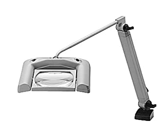 """Magnifier Light, Fluorescent Light, With Table Clamp, Black, 43"""" Reach, 3 x 9W Lamping, 120V Voltage"""