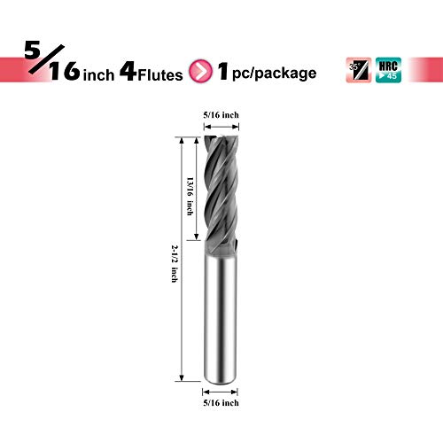 (SPEED TIGER ISE Carbide Square End Mill - Micro Grain Carbide End Mill for Alloy Steels/Hardened Steels - AlTiBN Coating - 4 Flute - ISE5/16