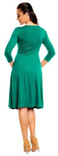 Zeta Ville - Midi Vestido Fruncido Delantera Cruzada - Para Mujer - 282z (Verde Azulado, EU 36, S)