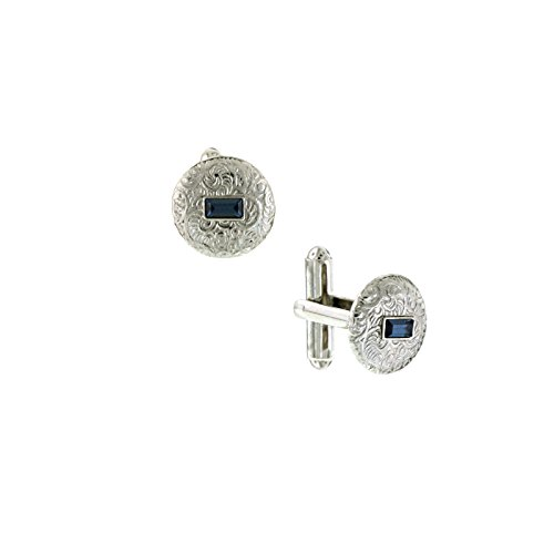 (1928 Mens Sapphire Blue Crystal Small Round Cufflinks (Silver-Tone))