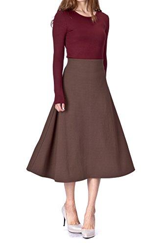 Dani's Choice Elastic Waist A-line Flared Long Skirt (S, Brown)