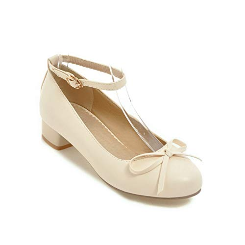 BalaMasa Womens Solid Bows Travel Urethane Pumps Shoes APL10419 Beige
