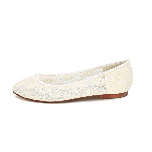 Les Dames Flower La Mariage 9872 Mariée De Chaussures Plates À Ballet Chaussures Bride Cheville Dentelle Orange Ager 19E Glisser Sur SS8ZW