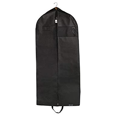 "Bags for Less Premium Quality Black Garment Travel and Storage Breathable Bag 26"" x 60  x 5"" with Zipper & Metal Eyehole and Carry Handles for Folding for Suits, Tuxedos, Dresses, Coats & More"