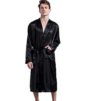 Admireme Men's Satin Kimono Robe Spa Bathrobes Loungewear Sleepwear Long Bathrobe
