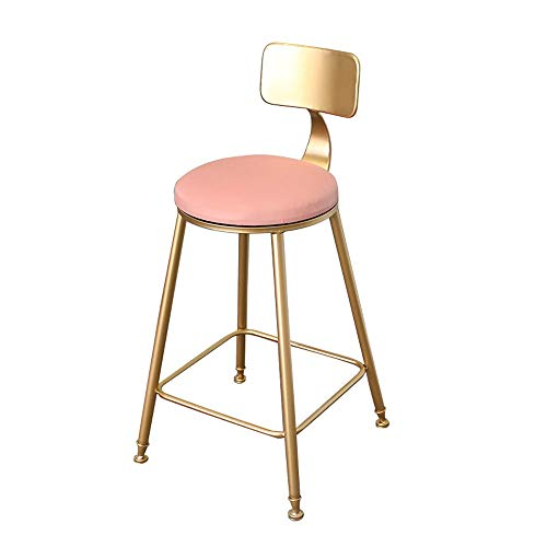LIAN-footstools High Chair Gold Wrought Iron Light Backrest Chair Tea Shop Coffee Shop High Stool Etc Size: ()