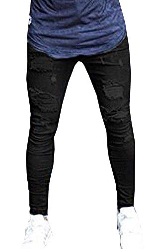 Slim Jeans Di Pantaloni Aderenti Estilo Especial Stretch Da Denim Uomo Destrutturato Nero Fit In Base TwdxCRPw