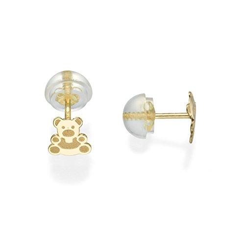 14K Fine Yellow Gold Enamel Bear Screw Back Stud Earrings for Girls Gift Children Kids by youme Gold Jewelry (Image #7)