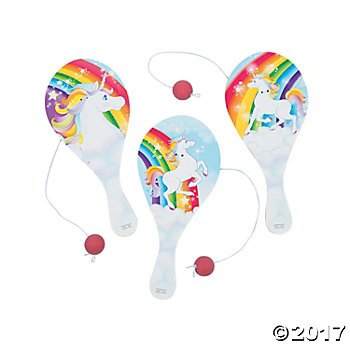 Unicorn Paddleball Games - 12 ct