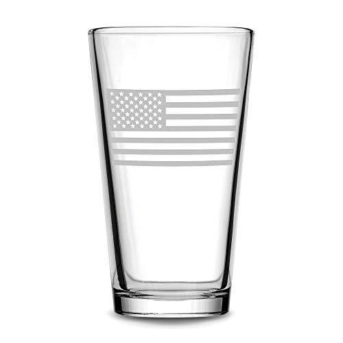 Premium American Flag Pint Glass, Made in USA, Hand Etched 15.3 oz Patriotic Drinking Glasses, Old Glory Beer Glass Gifts, Sand Carved by Integrity Bottles