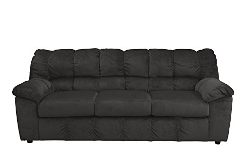 Ashley Furniture Signature Design - Julson Contemporary Sofa - 3 Seats - Puckered Stitching - - Sofa Ebony