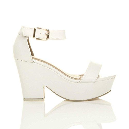 Hauts Compensées Ouvert Sandales Blanc Fête Chaussures Bout Talons Pointure Femmes Mat pxwqA5gaKB