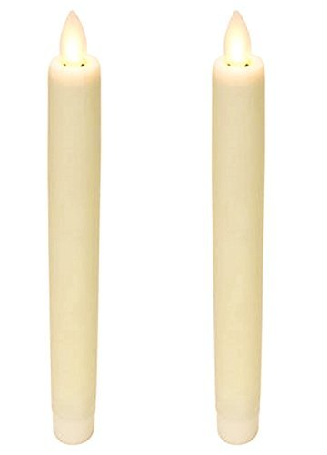 """Luminara Flameless 8"""" Ivory Taper Candles with Flickering Wi"""