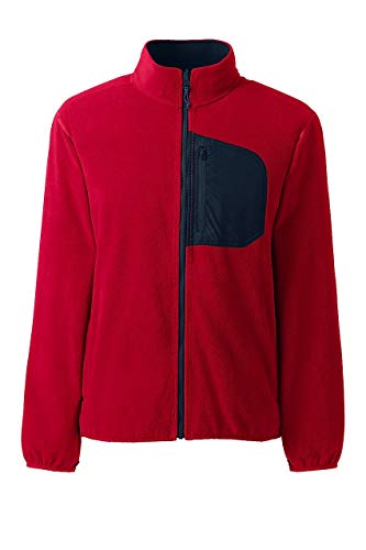 Lands' End Men's Thermacheck 200 Fleece Jacket, L, Classic Cherry