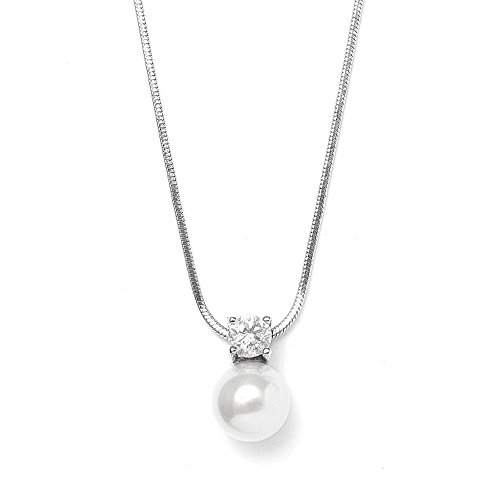 Gemstone Glass Shell Pendants - Mariell Round White Pearl Drop Necklace Pendant with CZ Accent - Ideal for Wedding, Bridesmaid & Everyday