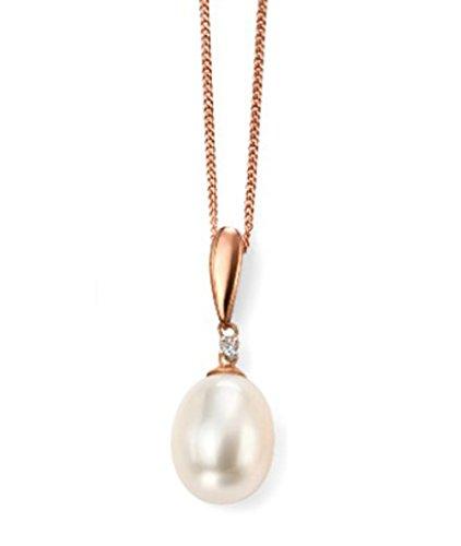 9ct or rose diamant et perle d'eau douce Pendentif