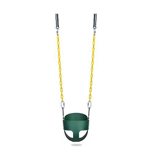 Baby's High Back Full Bucket Toddler Swing Seat With Coated Chain(Green) - Back Swing