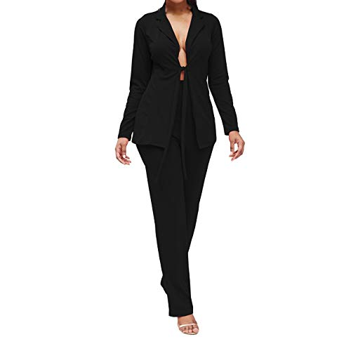 2 Piece Outfits for Women Long Sleeve Solid Color Blazer with Pants Casual Elegant Business Suit Sets Multi Color