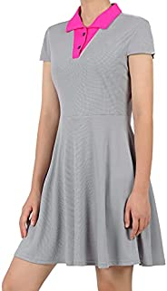 Women Tennis Golf Dress Short Sleeve Dresses Polo Collar Sports Clothes with Undershorts & Poc