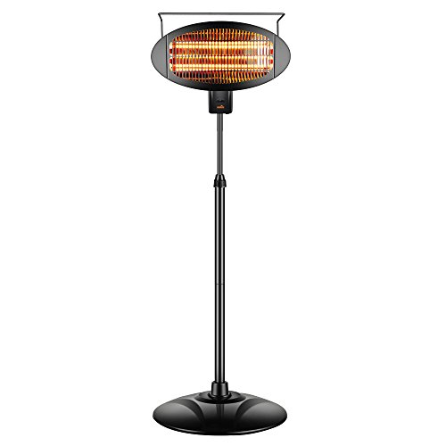 sundate Electric Patio Heater, Indoor/Outdoor Halogen Infrared Space Heater with 3 Power Levels, PHP-1500DI