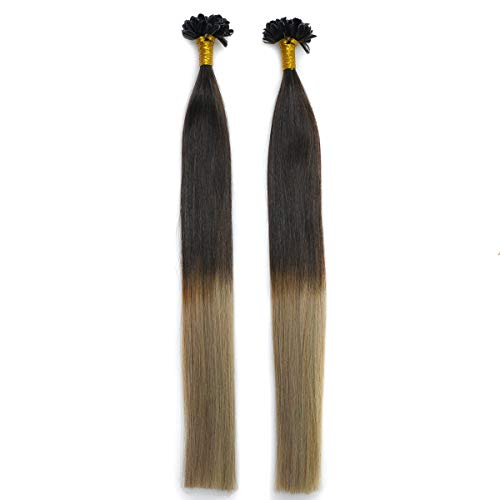 KOCONI U Tip Human Hair Extensions 50 Strands Keratin Pre Bonded U/Nail Tip 100% Ombre #2 Darkest Brown Fade to #18 Ash Brown 100% Remy Real Human Hair Soft Silky Straight 50g 1g/s