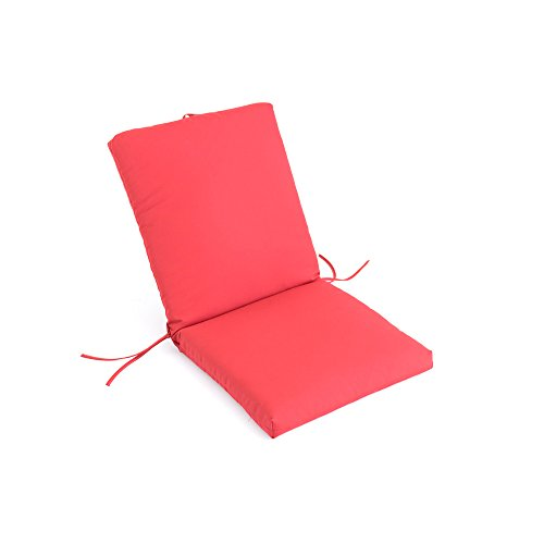 eLuxurySupply Sunbrella Outdoor Chair Cushion w/Back | Fade, Water & Stain Resistant | Industry Leading 2,000 Hour Sunlight Rating | Made in the USA, Jockey Red (Back Chair High Patio Cushions Clearance)