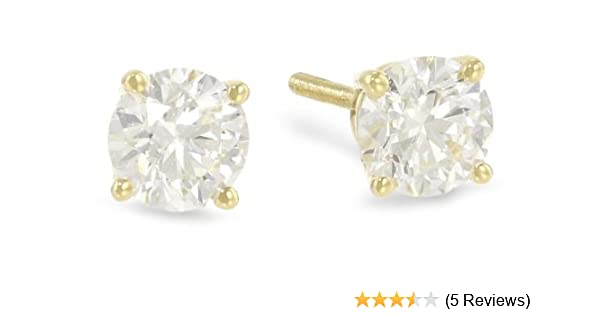 3cdf7ee26 1/4 Carat Solitaire Diamond Stud Earrings Round Cut 4 Prong Screw Back (H-I  Color, 100% Eye Clean Clarity)