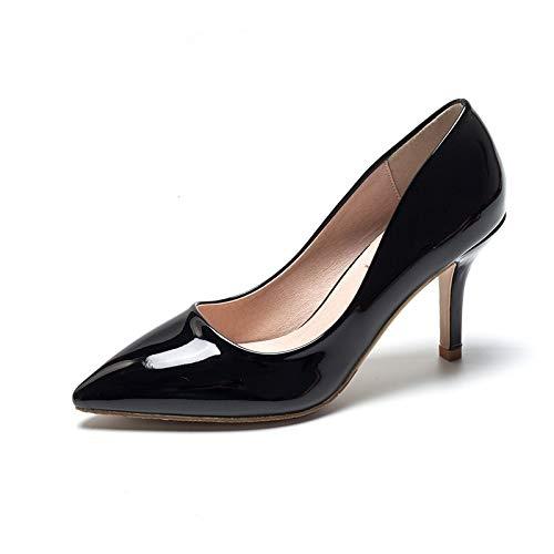 HRCxue Pumps Nude Farbe High Heel Damen fein mit 5cm Lackleder-Profischuhen Spitze Wilde Arbeitsschuhe Schwarze Einzelschuhe, 37, schwarz 9cm
