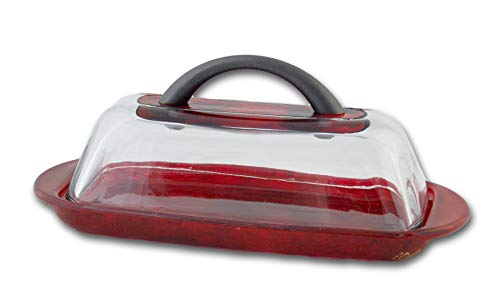 - Sand and Water Creations Hand Painted Butter Dish with Handle and Lid Red