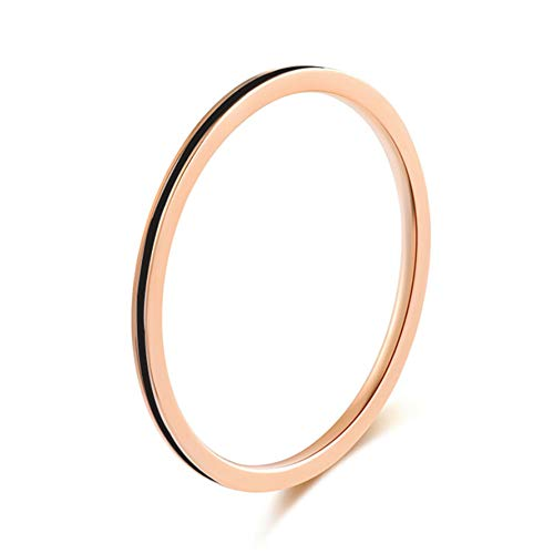 IFUAQZ Women's Stainless Steel 1MM Thin Midi Stacking Ring Enamel Plain Rose Gold Wedding Band Comfort Fit Black Size 6