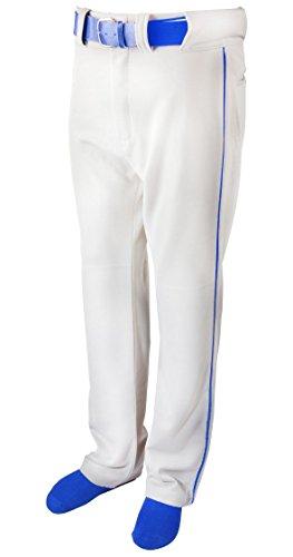 New Martin Baseball Softball White Belt Loop Pants Royal Blue Piping Youth XS-XL (YM)