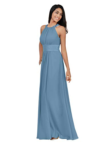 Alicepub Chiffon Bridesmaid Dresses Long for Women Formal Evening Party Prom Gown Halter, Dusty Blue, US10
