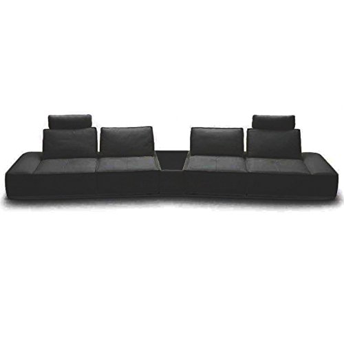 VIG- Orchid Divani Casa Contemporary Black Italian Leather Sectional Sofa ()