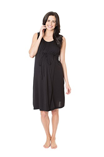 Baby Be Mine 3 In 1 Labor/delivery/Nursing Gown Maternity (S/M, Black)
