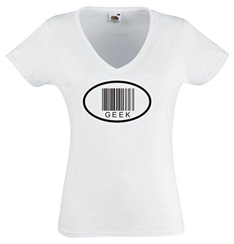 T-Shirt JDM / Die Cut / Fun shirt Woman / Women V-Neck white - GEEK Barcode - XL (Geek T-shirt Womens Cut)