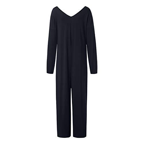 Kalinyer Women Elegant Jumpsuits,Women Loose Solid Color V Neck Long Sleeve Hollow Out Jumpsuit Playsuit(Black,XXXXXL) by Kalinyer (Image #2)