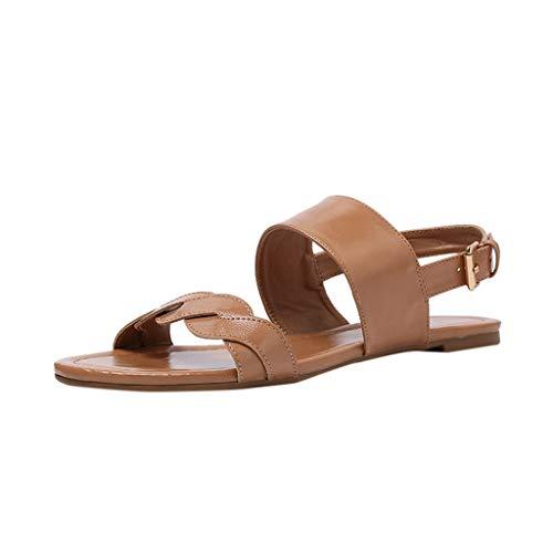 (Retro Womens Shoe KIKOY Fashion Flat Straps Buckle Open Toe Beach Casual Shoe Roman Sandals)