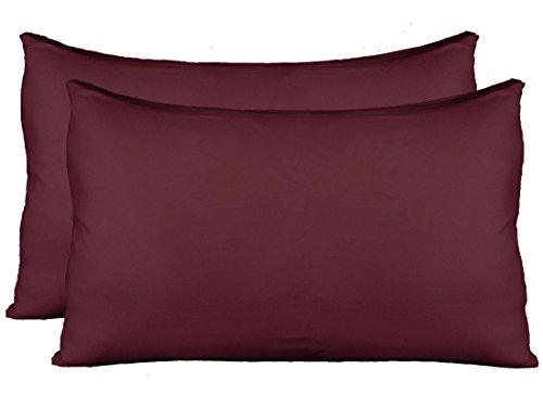 Stretch Jersey Pillow Cases with Invisible Zipper, Universal Size fit all King, Queen and Standard Size Pillows, Modal Rayon Spandex 180 Gram, Soft than Cotton, Pack of 2, Wine